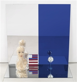 Artwork by Josephine Meckseper, GOODBYE MR. DEMOCRACY, Made of mirrored Plexiglas, mannequin head, cellophane, mirrored disco ball, martini glass and painted Plexiglas