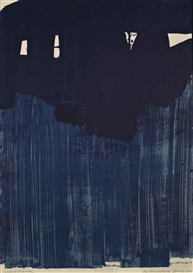 Artwork by Pierre Soulages, Lithographie No23 (Rivière 25, Encrevé 70), Made of lithograph in blue