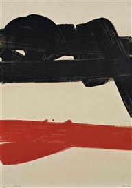 Artwork by Pierre Soulages, Lithographie No27 (Rivière 29, Encrevé 75), Made of lithograph in black and red