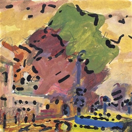 Artwork by Frank Auerbach, Park Village East, Primrose Hill, Made of Gouache, ink and household paint