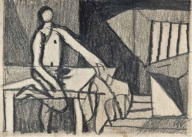 Artwork by Keith Vaughan, Study for Interior at Locmariaquer, Made of Pencil