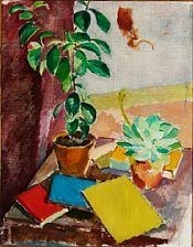 Artwork by Karl Oscar Isakson, Still life with Camellia and Books, Made of Oil on canvas