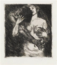 Artwork by Lovis Corinth, Umarmung, Made of Etching and drypoint printed in black on heavy cream wove paper