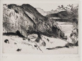 Artwork by Lovis Corinth, Urfeld--Walchensee, Made of Drypoint on cream wove paper