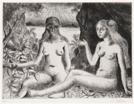 Artwork by Paul Delvaux, La Dispute, Made of Etching on cream wove paper