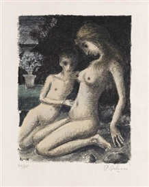 Artwork by Paul Delvaux, Azalée bleue, Made of Color lithograph