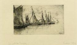 Artwork by James Ensor, Les petite barques, Made of Etching on Simili Japan paper