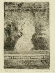 Artwork by James Ensor, Bust, Made of Drypoint etching
