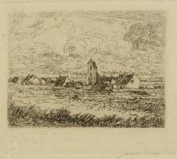 Artwork by James Ensor, Petite vue de Mariakerke, Made of Etching on cream-coloured Simili Japan paper