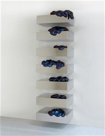Artwork by Sylvie Fleury, Eternal Wow on Shelf (cyan/purple), Made of polished stainless steel, fiberglass, and car paint