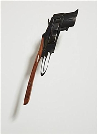 Artwork by Robert Lazzarini, Gun (V), Made of metal and wood with mounting rod and base