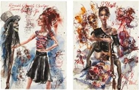 Artwork by Brad Kahlhamer, Urban Prairie Girls, Made of ink and watercolor on paper