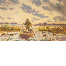 Artwork by John Whorf, Morning Wind, Punt Gunner, Made of Watercolor, graphite pencil and gouache on paper
