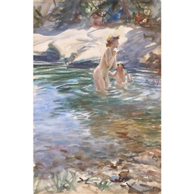 Artwork by John Whorf, 2 Works: Mother and Child Bathing; Yellow House, Made of Watercolor on paper