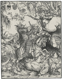 Artwork by Lucas Cranach the Elder, Saint George on Horseback Slaying the Dragon, Made of Woodcut