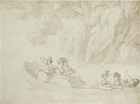 Artwork by Thomas Rowlandson, Boating Party, Made of pen and ink