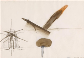 Artwork by Walter Pichler, Ohne Titel, Made of spring, brush, ink (sepia), watercolor, colored pencil, pencil on paper