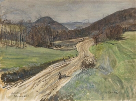 Artwork by Oskar Laske, Frühling im Wienerwald, Made of watercolor, gouache on paper