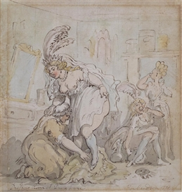 Thomas Rowlandson, Dressing Room at Drury Lane