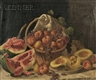 John F. Francis, Elaborate Still Life with Melons and Fruit on a Marble Slab
