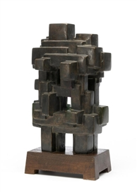 Artwork by Jacques Schnier, Eternal Sanctuary No. 2, Made of Bronze on wooden base