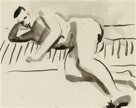 Artwork by David Park, Reclining Figure, Made of Ink on paper