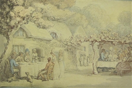 Artwork by Thomas Rowlandson, Figures eating and merrymaking in a garden, a house beyond, Made of watercolour