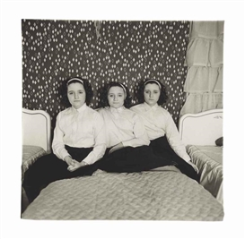 Artwork by Diane Arbus, Triplets in their bedroom, N.J., Made of gelatin silver print