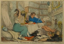 Artwork by Thomas Rowlandson, A Templar at his Studies, Made of hand coloured etching