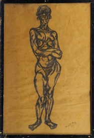 Artwork by László Moholy-Nagy, Standing nude, Made of pencil on buff paper