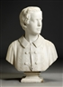 Hiram Powers, Marble Bust with Period Pedestal