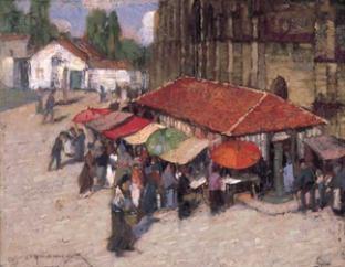 MARKET AT MORET, FRANCE By Frederick J. Mulhaupt