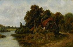 A BACKWATER, PANGBOURNE ON THAINES By Octavius T. Clark