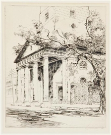 Artwork by Alfred Heber Hutty, OLD ST. MICHAEL'S, CHARLESTON, Made of etching