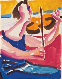 Artwork by David Park, Figure Playing Violin, Made of Gouache on paper