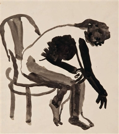 Artwork by David Park, Girl in Chair Bending Over, Made of Black ink wash on paper