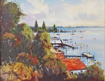 """Boats On The Swan, Perth Wa"" By Henry Mclaughlin ,1994"