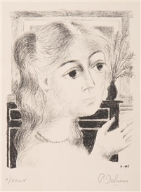 Artwork by Paul Delvaux, Jeune fille au collier de perles, Made of lithograph
