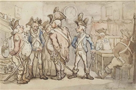 Artwork by Thomas Rowlandson, Militia men at an inn, Made of pen and brown ink and watercolour