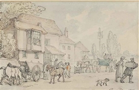 Artwork by Thomas Rowlandson, A country inn, Made of pen and grey ink and watercolour