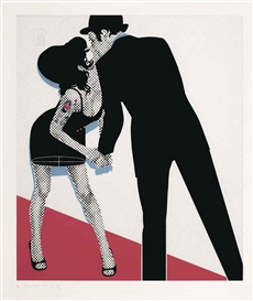Artwork by Gerald Laing, The Kiss, Made of screenprint in colours on wove paper