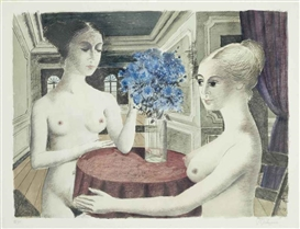 Artwork by Paul Delvaux, Silence (Jacob 64), Made of lithograph in colours on watermarked BFK Rives paper