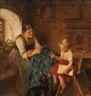 Adolf Eberle, Family scene with young mother, child and dog