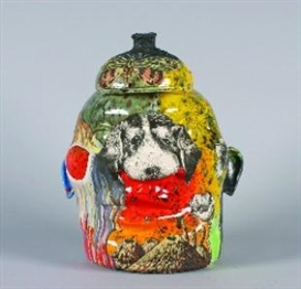 Artwork by Michael Lucero, Face Jug with with Puppy (New World Series), Made of glazed ceramic