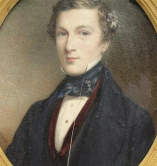 portrait of a gentleman in red velvet vest and black jacket By Cornelius Beavis Durham