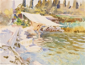 Artwork by John Singer Sargent, LAKE OF GARDA, Made of watercolor with traces of pencil on paper laid down on board
