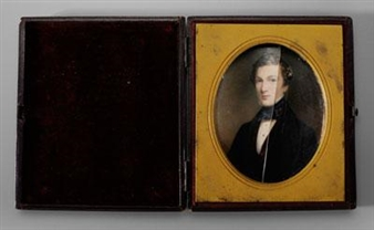 Miniature, Portrait of a Gentleman in Red Velvet Vest and Black Jacket By Cornelius Beavis Durham ,1845