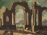 Nicola Viso, A coastal landscape with a capriccio of classical ruins and figures conversing