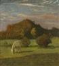 Heinrich Nauen, Schimmel vor Bäumen auf der Weide
