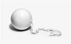 Artwork by Elmgreen/Dragset, Ball and Chain, Made of painted powder coated steel
